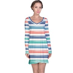 Summer Mood Striped Pattern Long Sleeve Nightdress