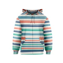 Summer Mood Striped Pattern Kids  Zipper Hoodie