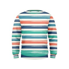 Summer Mood Striped Pattern Kids  Sweatshirt