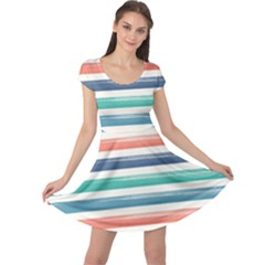 Summer Mood Striped Pattern Cap Sleeve Dresses