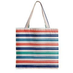 Summer Mood Striped Pattern Zipper Grocery Tote Bag
