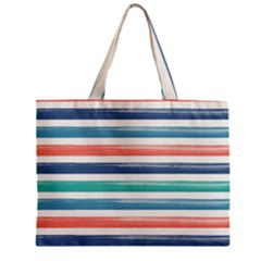 Summer Mood Striped Pattern Zipper Mini Tote Bag