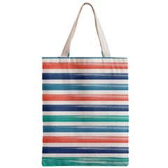 Summer Mood Striped Pattern Zipper Classic Tote Bag