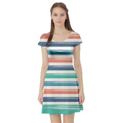 Summer Mood Striped Pattern Short Sleeve Skater Dress