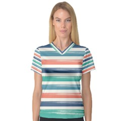 Summer Mood Striped Pattern Women s V Neck Sport Mesh Tee