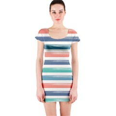 Summer Mood Striped Pattern Short Sleeve Bodycon Dress