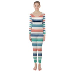 Summer Mood Striped Pattern Long Sleeve Catsuit by DanaeStudio
