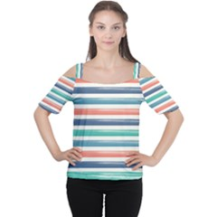 Summer Mood Striped Pattern Women s Cutout Shoulder Tee