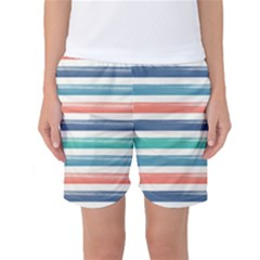 Summer Mood Striped Pattern Women s Basketball Shorts