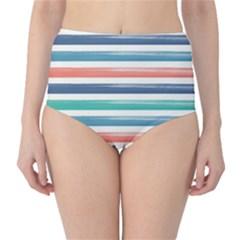 Summer Mood Striped Pattern High Waist Bikini Bottoms
