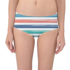 Summer Mood Striped Pattern Mid Waist Bikini Bottoms