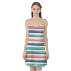 Summer Mood Striped Pattern Satin Night Slip