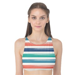Summer Mood Striped Pattern Tank Bikini Top