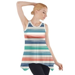 Summer Mood Striped Pattern Side Drop Tank Tunic