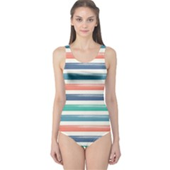 Summer Mood Striped Pattern One Piece Swimsuit