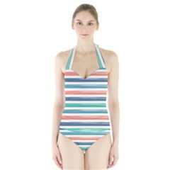 Summer Mood Striped Pattern Halter Swimsuit