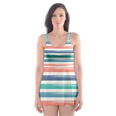 Summer Mood Striped Pattern Skater Dress Swimsuit
