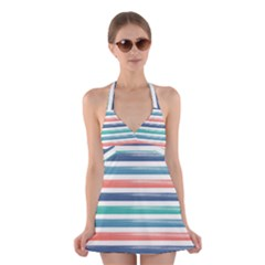 Summer Mood Striped Pattern Halter Swimsuit Dress