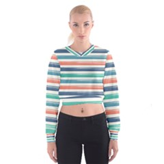 Summer Mood Striped Pattern Women s Cropped Sweatshirt