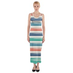 Summer Mood Striped Pattern Fitted Maxi Dress