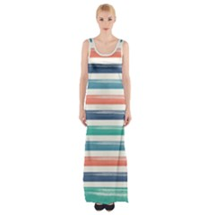 Summer Mood Striped Pattern Maxi Thigh Split Dress