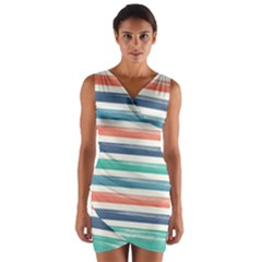 Summer Mood Striped Pattern Wrap Front Bodycon Dress