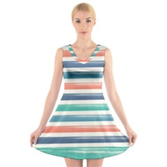 Summer Mood Striped Pattern V Neck Sleeveless Skater Dress