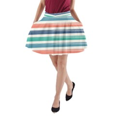 Summer Mood Striped Pattern A Line Pocket Skirt
