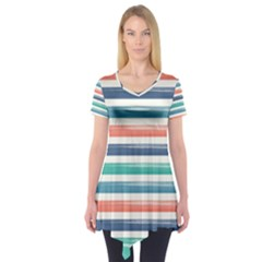 Summer Mood Striped Pattern Short Sleeve Tunic