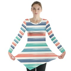 Summer Mood Striped Pattern Long Sleeve Tunic