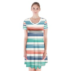 Summer Mood Striped Pattern Short Sleeve V Neck Flare Dress