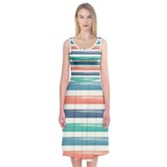 Summer Mood Striped Pattern Midi Sleeveless Dress