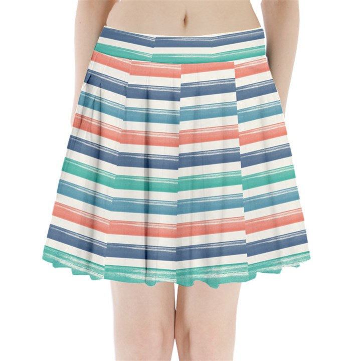 Summer Mood Striped Pattern Pleated Mini Skirt