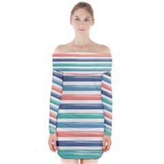 Summer Mood Striped Pattern Long Sleeve Off Shoulder Dress