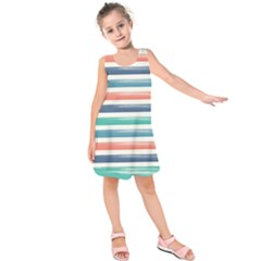 Summer Mood Striped Pattern Kids  Sleeveless Dress