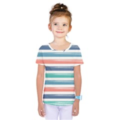 Summer Mood Striped Pattern Kids  One Piece Tee