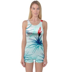 Tillansia Flowers Pattern One Piece Boyleg Swimsuit