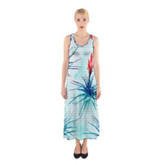 Tillansia Flowers Pattern Sleeveless Maxi Dress