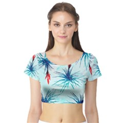 Tillansia Flowers Pattern Short Sleeve Crop Top (tight Fit)