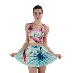 Tillansia Flowers Pattern Mini Skirt