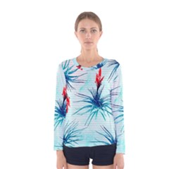 Tillansia Flowers Pattern Women s Long Sleeve Tee
