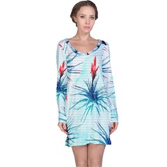 Tillansia Flowers Pattern Long Sleeve Nightdress