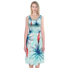 Tillansia Flowers Pattern Midi Sleeveless Dress by DanaeStudio