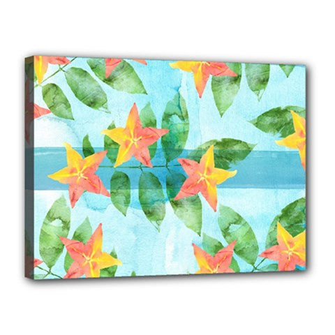 Tropical Starfruit Pattern Canvas 16  X 12  by DanaeStudio