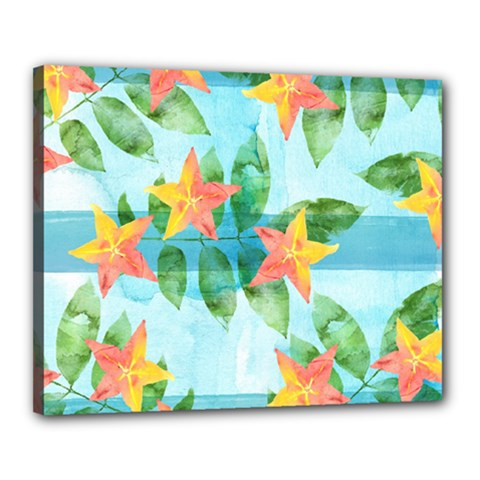 Tropical Starfruit Pattern Canvas 20  X 16  by DanaeStudio