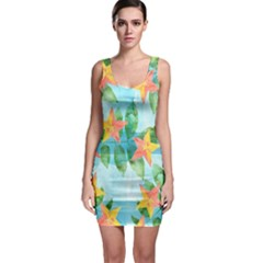 Tropical Starfruit Pattern Sleeveless Bodycon Dress