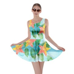 Tropical Starfruit Pattern Skater Dress