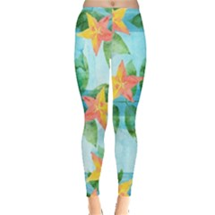 Tropical Starfruit Pattern Leggings