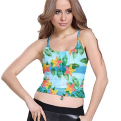 Tropical Starfruit Pattern Spaghetti Strap Bra Top