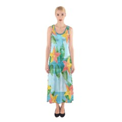 Tropical Starfruit Pattern Sleeveless Maxi Dress